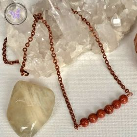 Gold Goldstone Copper Healing Bar Necklace